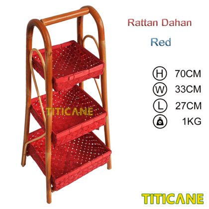 TITICANE 3 Layer Square Storage Rack [ Rak Rotan ] [ Rattan Dahan ]