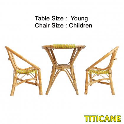 TITICANE Children Round Chair [ Kerusi Rotan ] [ Rattan Mantang ]