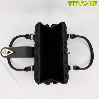 Black Lily Handicraft Bag [ Rattan / Rotan ]