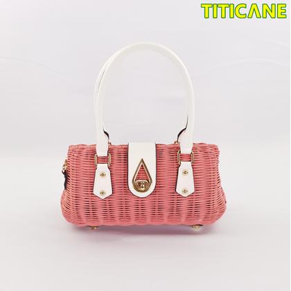 Pink Lily Handicraft Bag [ Rattan / Rotan ]