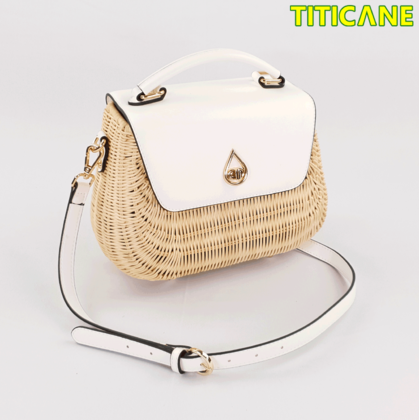 White Tulip Handicraft Bag [ Rattan / Rotan ]