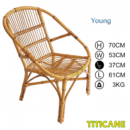 TITICANE Young Bucket Chair [ Kerusi Rotan ] [ Rattan Mantang ]