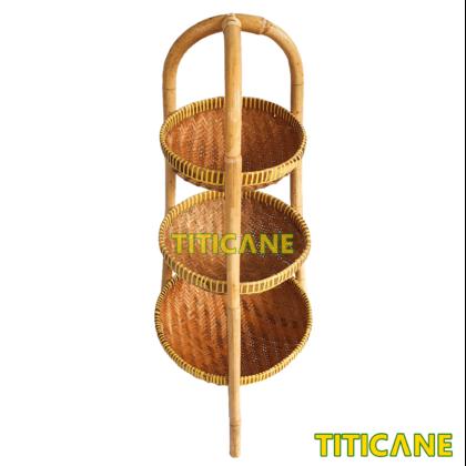 TITICANE 3 Layer Storage Round Rack [ Rak Rotan ] [ Rattan Mantang ]
