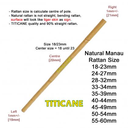 TITICANE Manau Stick [ 27 INCH ] [ Natural 18-23mm ] [ Rattan / Rotan ]