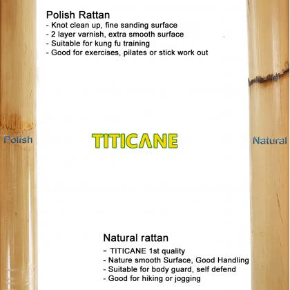 TITICANE Manau Stick [ 54 INCH ] [ Natural 33-34mm ] [ Rattan / Rotan ]