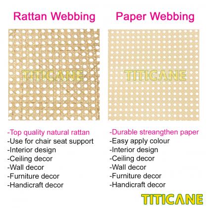 TITICANE Natural Rattan Mesh Webbing [ 18 Inch ] [ 2 Feet Per Unit ]