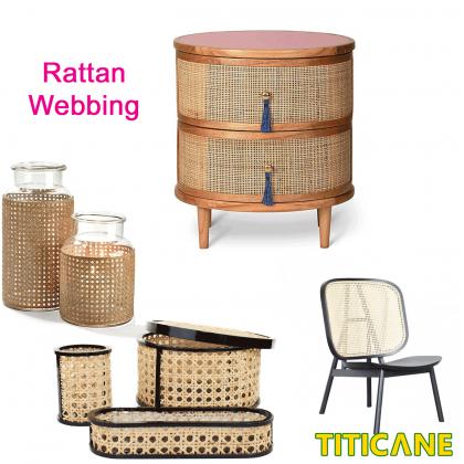 TITICANE Natural Rattan V-shape Webbing [ 18 Inch ] [ 1 Roll ]